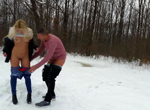 Slim blond gf ravaged outdoors at winter