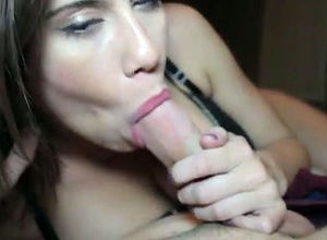 Lovely gf gives spunky blowjob, when..