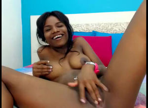 Ultra-cute ebony teenage showcase her..