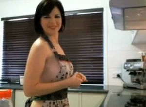 Huge-titted Mummy bare on a kitchen