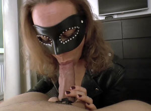 Mature domina in the mask gargling her..