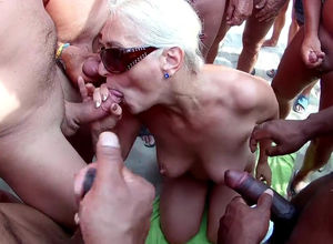 Blond mature orla group-fucked on Cap..