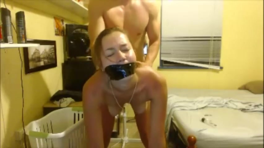 Teen wifey with strapped throat..