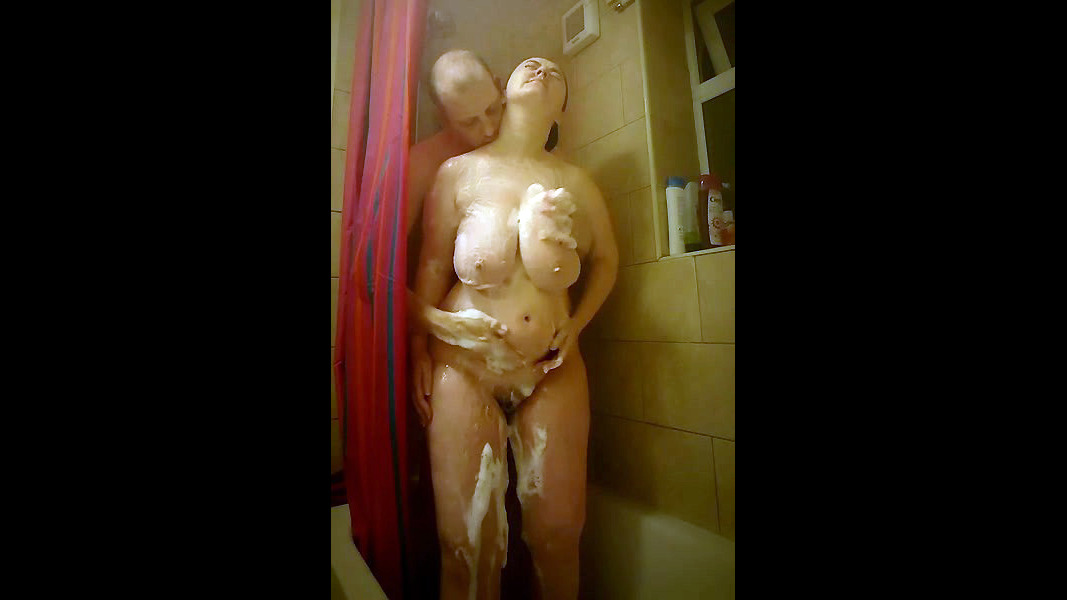 Mature duo in the shower. Ginormous..